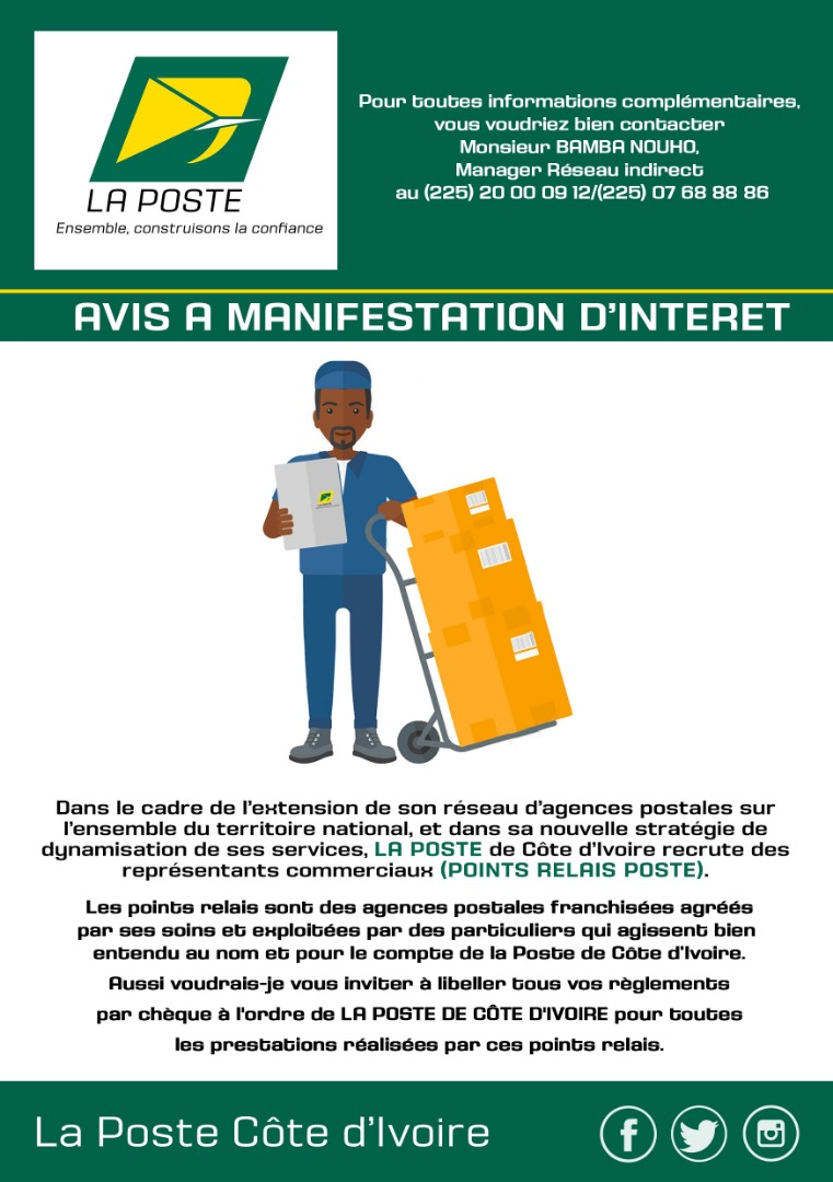 NOTE A L'ATTENTION DES CLIENTS DE LA POSTE DE COTE DIVOIRE